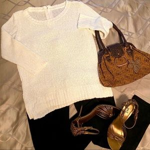 H&M White Knit Sweater with Zip Back 3/4 sleeve